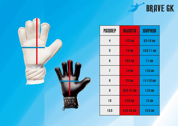 Размерная сетка перчаток